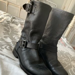 Frye black leather combat boot